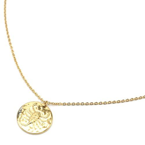 Collier-Fine-Chaine-Acier-Dore-avec-Pendentif-Medaille-Scorpion-Signe-Zodiaque