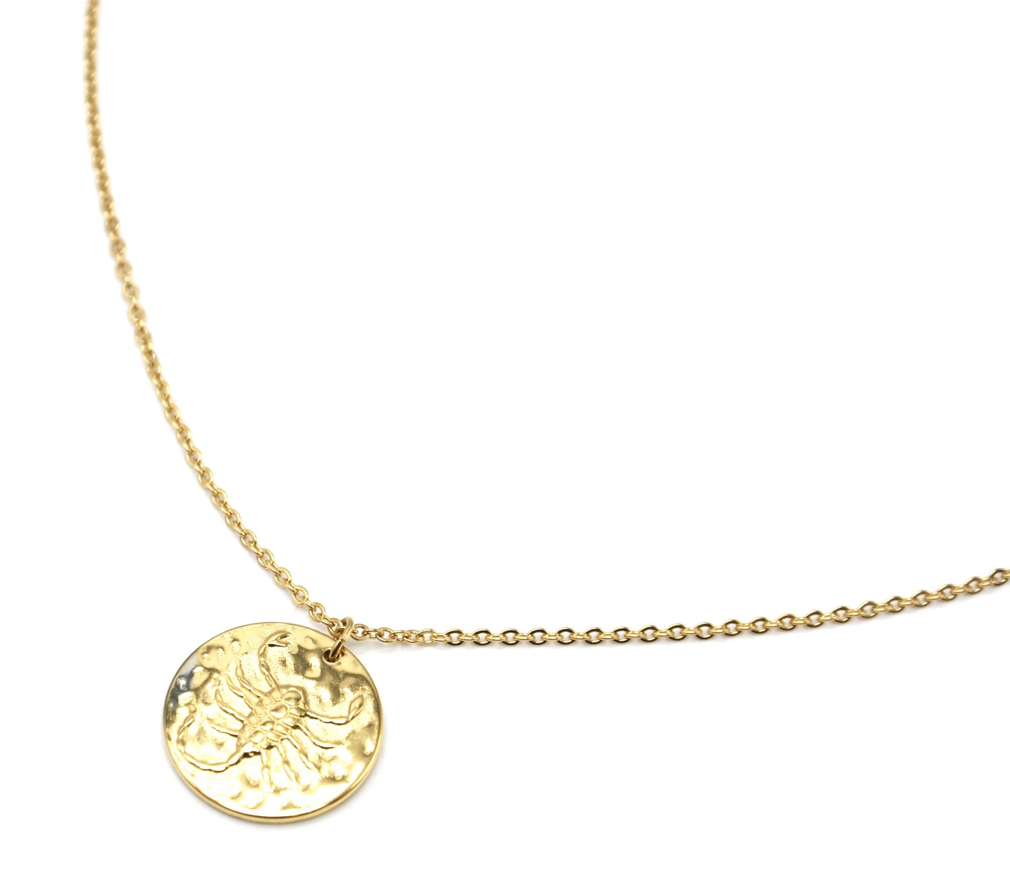 frais frais haut fonctionnaire sélectionner pour plus récent CC2464F - Collier Fine Chaîne Acier Doré avec Pendentif Médaille Scorpion  Signe Zodiaque