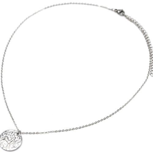 Collier-Fine-Chaine-Acier-Argente-avec-Pendentif-Medaille-Sagittaire-Signe-Zodiaque