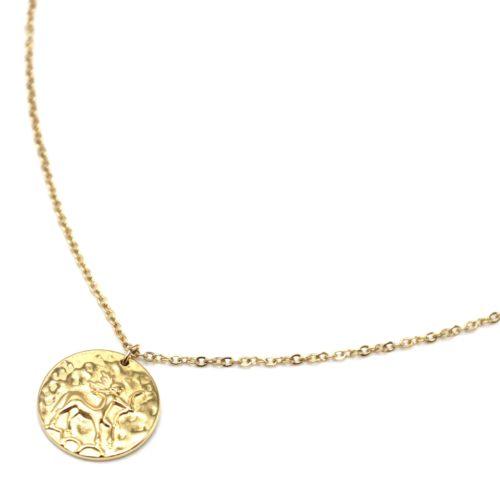 Collier-Fine-Chaine-Acier-Dore-avec-Pendentif-Medaille-Sagittaire-Signe-Zodiaque
