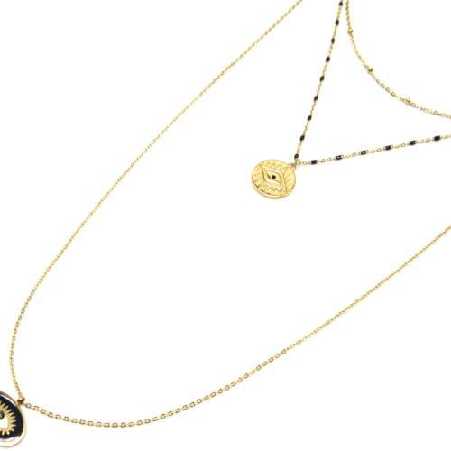 Collier-Triple-Chaine-Mini-Perles-Medaille-Gravee-Acier-Dore-et-Oeil-Noir