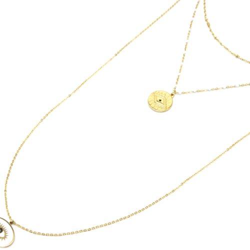 Collier-Triple-Chaine-Mini-Perles-Medaille-Gravee-Acier-Dore-et-Oeil-Blanc