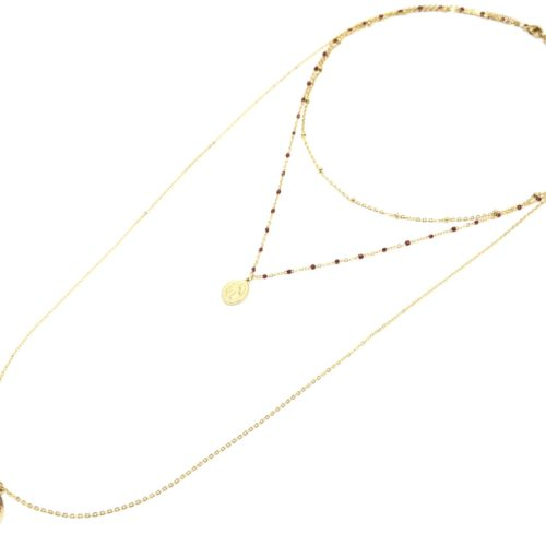 Collier-Triple-Chaine-Mini-Perles-Vierge-Marie-Acier-Dore-et-Croix-Bordeaux