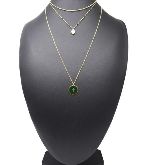 Collier-Triple-Chaine-Mini-Perles-Vierge-Marie-Acier-Dore-et-Croix-Vert-Sapin