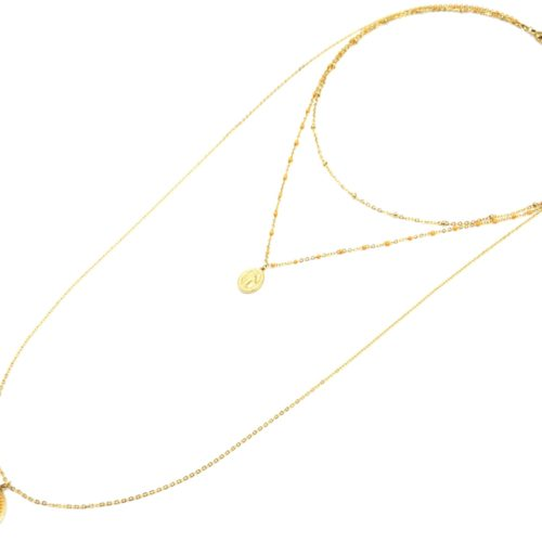 Collier-Triple-Chaine-Mini-Perles-Vierge-Marie-Acier-Dore-et-Croix-Jaune-Orange