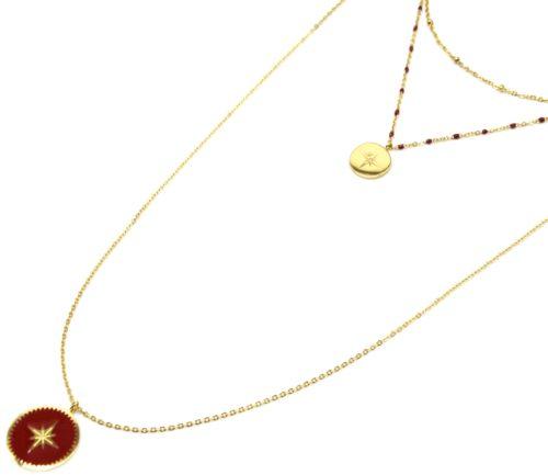 Collier-Triple-Chaine-Mini-Perles-Medaille-Acier-Dore-et-Etoile-Polaire-Bordeaux