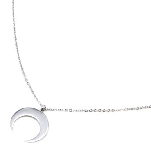 Sautoir-Collier-Fine-Chaine-avec-Pendentif-Corne-Lune-Acier-Argente