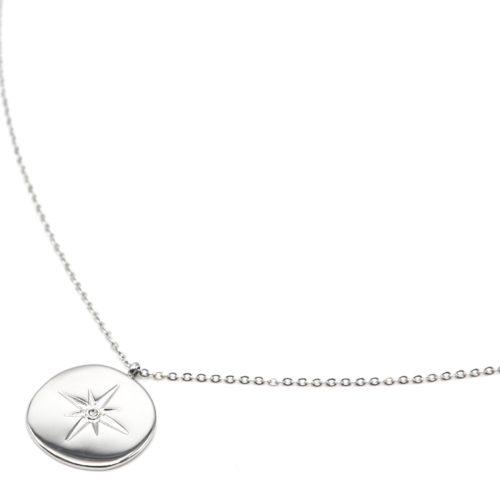Sautoir-Collier-Fine-Chaine-avec-Pendentif-Medaille-Etoile-Polaire-Acier-Argente