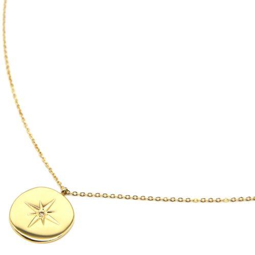 Sautoir-Collier-Fine-Chaine-avec-Pendentif-Medaille-Etoile-Polaire-Acier-Dore