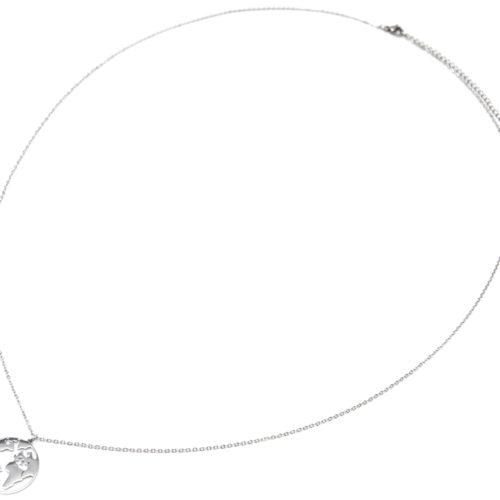 Sautoir-Collier-Fine-Chaine-avec-Pendentif-Globe-Carte-Monde-Acier-Argente