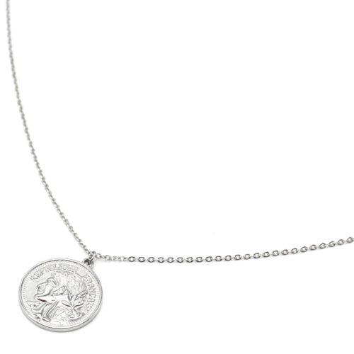 Sautoir-Collier-Fine-Chaine-avec-Pendentif-Piece-Monnaie-Acier-Argente