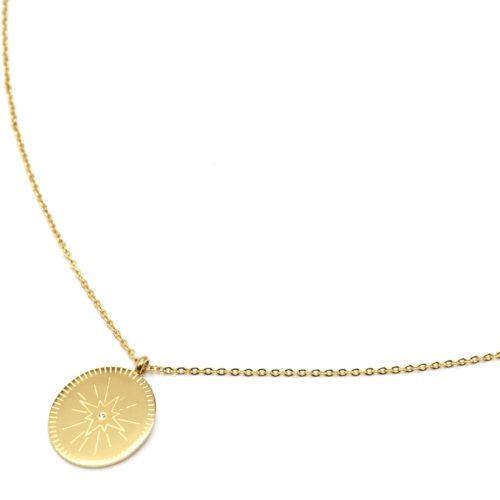 Sautoir-Collier-Fine-Chaine-avec-Pendentif-Medaille-Gravee-Etoile-Polaire-Acier-Dore