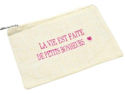 Trousse-Pochette-Toile-Avec-Message-La-Vie-Est-Faite-De-Petits-Bonheurs-Paillettes