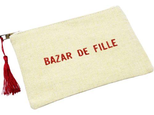 Trousse-Pochette-Toile-Avec-Message-Bazar-de-Fille-Paillettes-et-Pompon-Bordeaux