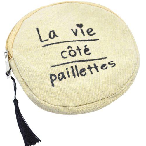 Trousse-Pochette-Ronde-Toile-Avec-Message-La-Vie-Cote-Paillettes-et-Pompon-Noir