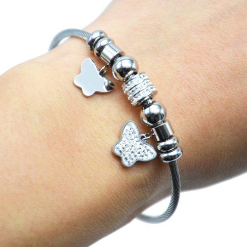 Bracelet-Jonc-Aimante-avec-Charms-Papillons-Strass-et-Acier-Argente