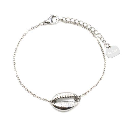 Bracelet-Fine-Chaine-avec-Charm-Coquillage-Acier-Argente