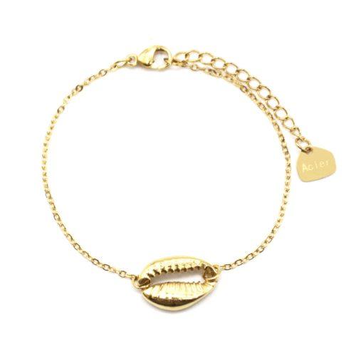 Bracelet-Fine-Chaine-avec-Charm-Coquillage-Cauri-Acier-Doré