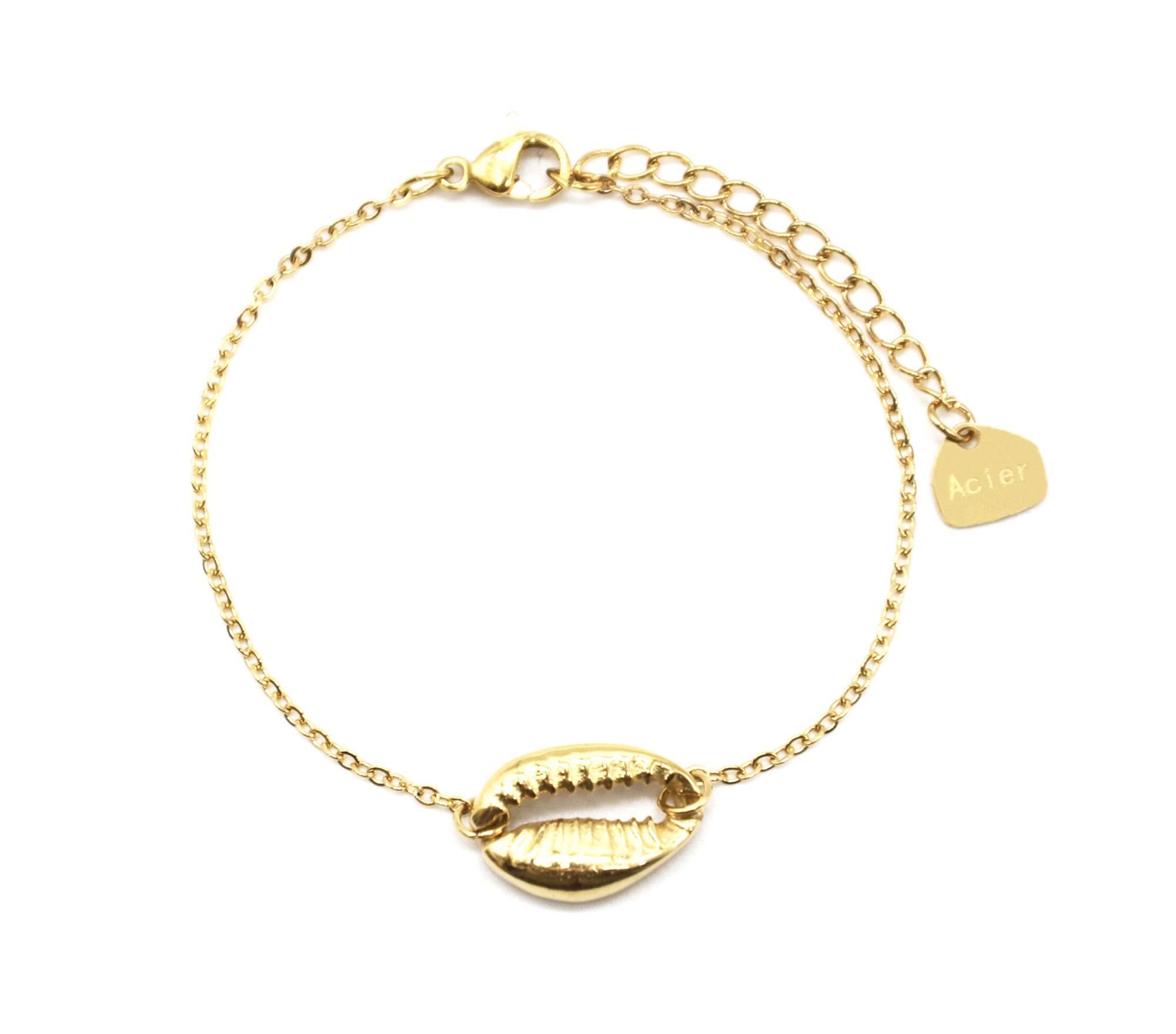 nouveau style f6232 d2066 BC3392F - Bracelet Fine Chaîne avec Charm Coquillage Cauri Acier Doré