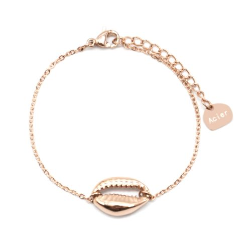 Bracelet-Fine-Chaine-avec-Charm-Coquillage-Acier-Or-Rose