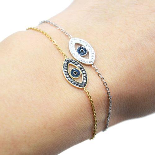 Bracelet-Fine-Chaine-Acier-avec-Charm-Oeil-Contour-Strass
