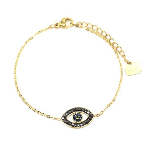 Bracelet-Fine-Chaine-Acier-Dore-avec-Charm-Oeil-Contour-Strass-Gris
