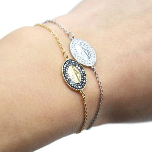 Bracelet-Fine-Chaine-Acier-avec-Charm-Vierge-Marie-Contour-Strass