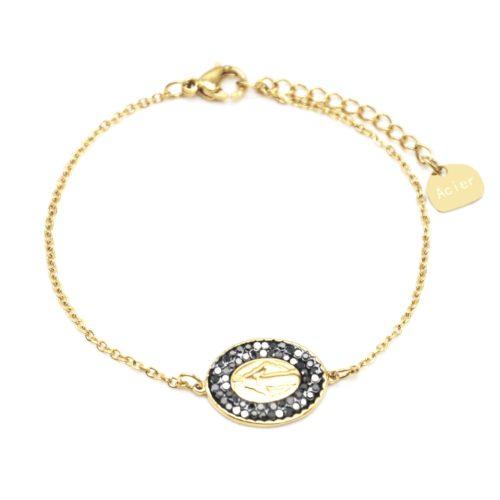 Bracelet-Fine-Chaine-Acier-Dore-avec-Charm-Vierge-Marie-Contour-Strass-Gris