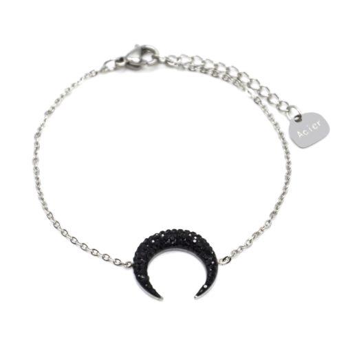 Bracelet-Fine-Chaine-Acier-Argente-avec-Charm-Corne-Lune-Strass-Noir
