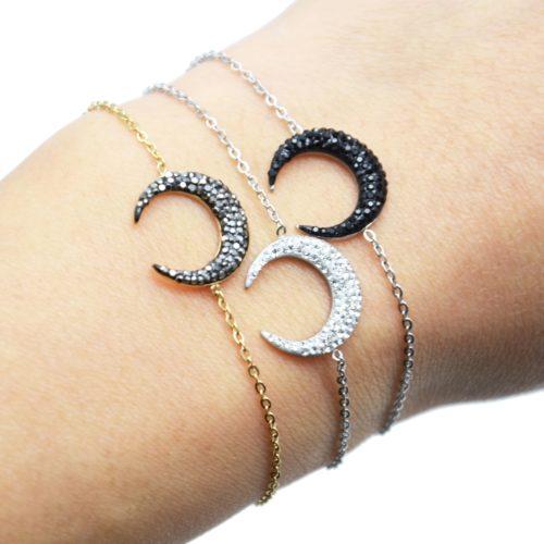 Bracelet-Fine-Chaine-Acier-avec-Charm-Corne-Lune-Strass
