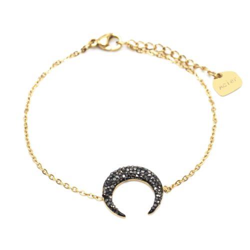 Bracelet-Fine-Chaine-Acier-Dore-avec-Charm-Corne-Lune-Strass-Gris