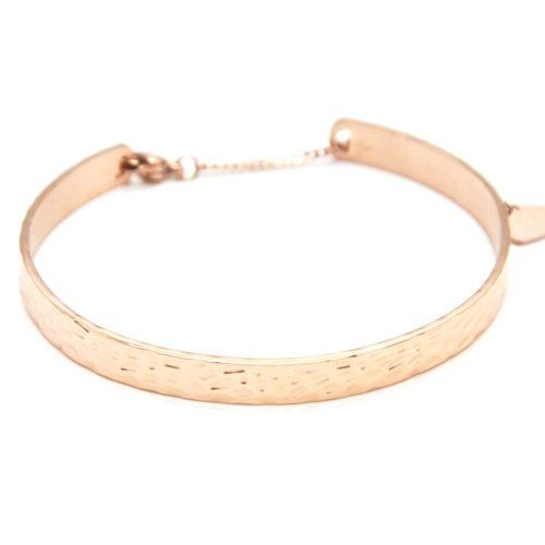 Bracelet-Jonc-Acier-Or-Rose-avec-Motif-Martele-et-Chainette-Fermoir