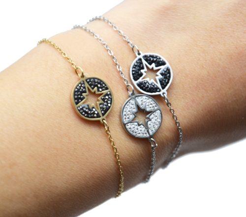 Bracelet-Fine-Chaine-Acier-avec-Cercle-Strass-Motif-Ajoure-Etoile-Polaire