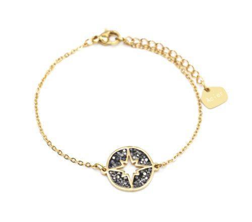 Bracelet-Fine-Chaine-Acier-Dore-avec-Cercle-Strass-Gris-Motif-Ajoure-Etoile-Polaire