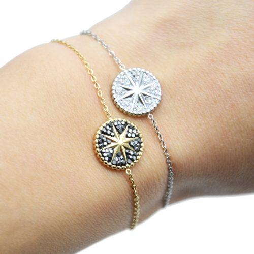 Bracelet-Fine-Chaine-Acier-avec-Cercle-Strass-Motif-Soleil