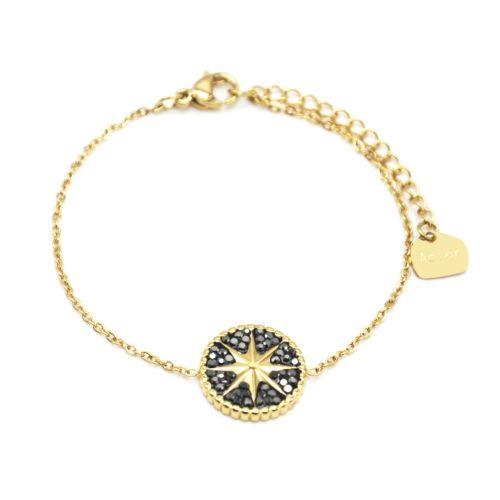 Bracelet-Fine-Chaine-Acier-Dore-avec-Cercle-Strass-Gris-Motif-Soleil