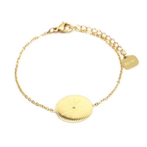 Bracelet-Fine-Chaine-avec-Charm-Medaille-Gravee-Etoile-Polaire-Acier-Dore