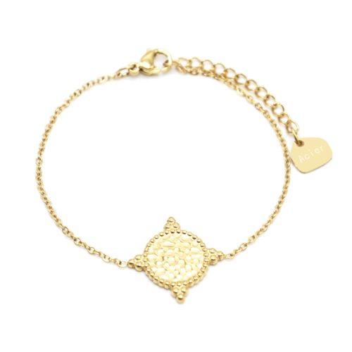 Bracelet-Fine-Chaine-avec-Cercle-Martele-Contour-Points-Acier-Dore