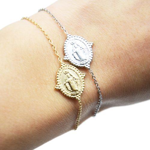 Bracelet-Fine-Chaine-avec-Medaille-Vierge-Marie-Contour-Points-Acier