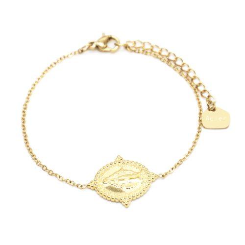Bracelet-Fine-Chaine-avec-Medaille-Vierge-Marie-Contour-Points-Acier-Dore