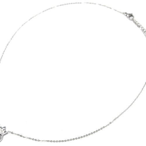 Collier-Fine-Chaine-avec-Pendentif-Couronne-Strass-Acier-Argente-et-Pierre