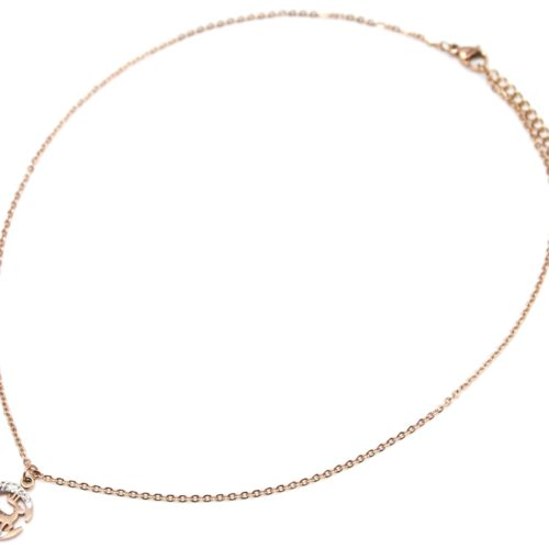 Collier-Fine-Chaine-avec-Pendentif-Lune-Strass-et-Cerf-Acier-Or-Rose