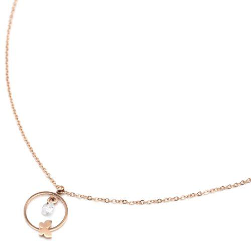 Collier-Fine-Chaine-avec-Pendentif-Cercle-Papillon-Acier-Or-Rose-et-Pierre