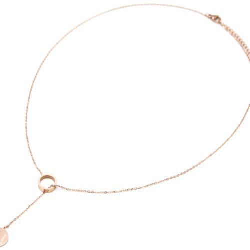Collier-Fine-Chaine-avec-Pendentif-Y-Anneau-et-Medaille-Love-Acier-Or-Rose
