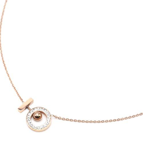 Collier-Fine-Chaine-avec-Pendentif-Cercle-Strass-Boule-et-Barre-Acier-Or-Rose
