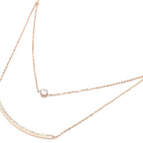Collier-Double-Chaine-Acier-Or-Rose-avec-Pendentifs-Pierre-et-Barre-Strass