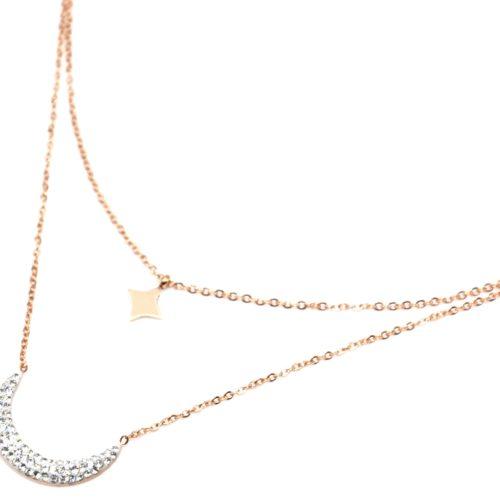 Collier-Double-Chaine-Acier-Or-Rose-avec-Pendentifs-Etoile-Polaire-et-Lune-Strass