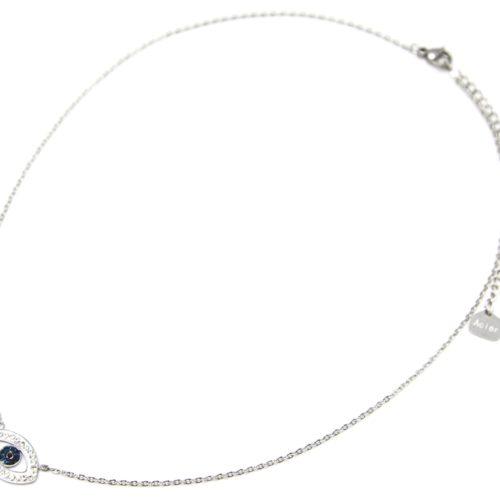 Collier-Fine-Chaine-Acier-Argente-avec-Pendentif-Oeil-Contour-Strass-Blanc