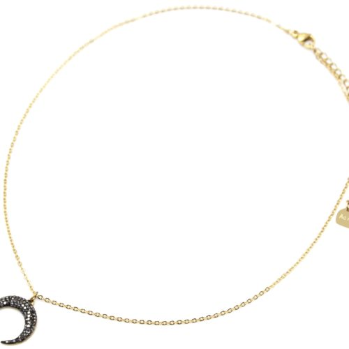 Collier-Fine-Chaine-Acier-Dore-avec-Pendentif-Corne-Lune-Strass-Gris