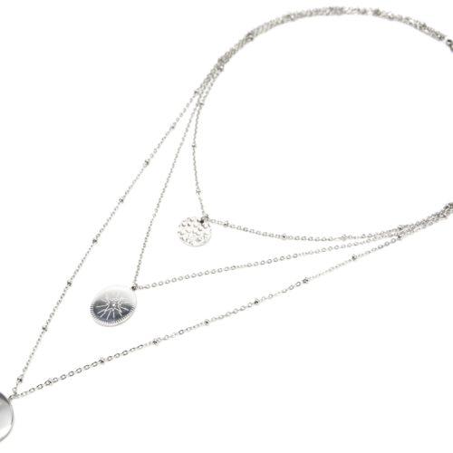 Collier-Triple-Fine-Chaine-avec-Medailles-Martelee-et-Motifs-Etoile-Polaire-Acier-Argente